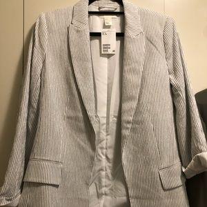 White navy striped cotton blazer
